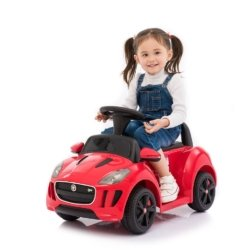 Электромобиль - каталка Jaguar F type красный (музыка, пульт, свет фар, ремень, педаль газа)