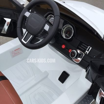 Электромобиль Range Rover Sport белый (резиновые колеса, кожа, пульт, музыка)
