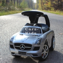 Толокар Mercedes SLS серебристый (музыка, гудок, бардачок)